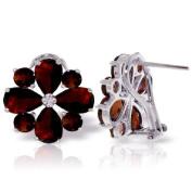 14k White Gold Garnet French Clip Flower Earrings