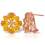 14k Rose Gold Citrine French Clip Flower Earrings