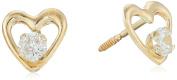 "Hallmark Jewellery ""Baby & Kids"" 14k Gold Heart with Cubic Zirconia Centre Stud Earrings"