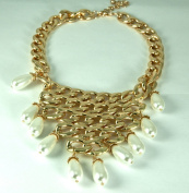 DESIGNER INSPIRED-GOLD CHAIN BIB NECKLACE WITH PEARL ACCENTS-17-50cm