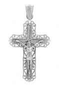 10k White Gold Milgrain-Edged Charm Filigree Cross Crucifix Pendant