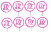 Cakesupplyshop Item# 688uj- 12pack Pink 10th (Tenth) Birthday Cupcake Toppers Decoration Picks
