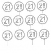 Cakesupplyshop Item# 778uj- 12pack Twenty First (21st) Birthday Cupcake Toppers Decoration Picks