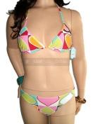Girls Ladies Multi Heart Bikini Swimsuit 10-12 RRP  24 (M (UK10/12)) by