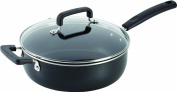 T-fal C1193364 Signature Nonstick Expert Easy Clean Interior Thermo-Spot Heat Indicator Dishwasher Safe Oven Safe Jumbo Cooker with Glass Lid Cover Cookware, 25cm / 4l, Black