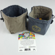 Third Die Dice Bag - Handcrafted And Reversible Drawstring Bag That Stands Open On The Table - For All Your Gaming Needs - Steel and Grey