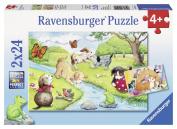 Ravensburger 09194 - Verspielte Vierbeiner, 2 x 24 Teile Puzzle