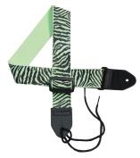 Girls Guitar Strap 5.1cm Cotton Strap with Black Zebra Stripes on a Lime Green STRAP