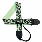 Girls Guitar Strap 5.1cm Guitar Strap with Starflower in Black on a Lime GreenCotton Strap