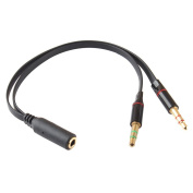 Generic 3.5mm Female to 2 Male Gold Plated Headphone Mic Audio Y Splitter Cable Black