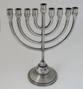 Chanukah Menorah in Traditional Design, Pewter Menorah