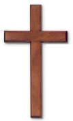 Wood Solid Mahogany Wall Cross 20cm X 41cm Boxed Easy to Hang in Box