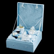 """4-Piece Blue """"Baby's First Christmas"""" Boy Glass Ornament Boxed Gift Set"""