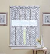 Ultra Luxurious Grey Shabby 3 Piece Kitchen Curtain Tier & Valance Set By GoodGram