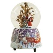 Musical 12cm Santa with Christmas Tree Glitter Dome - Plays Jingle Bells