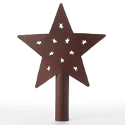 Primitive Style Rustic Red Metal Star Tree Topper or Shelf Sitter with Tiny Prim Star Cutouts