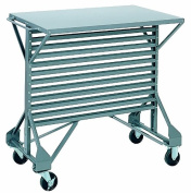 Akro-Mils 30812 Powder Coated Steel Mobile Bin Cart with Steel Worktop, 100cm Wide by 60cm Deep by 90cm High