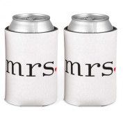 Hortense B. Hewitt Wedding Accessories Mrs. and Mrs. Can Coolers (Set of 2), White