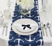 Navy Blue Anchors Table Runner