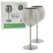 Stainless Steel Wine Glasses- Set of 2 Premium Quality 350ml Wine Glasses