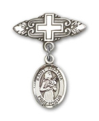 ReligiousObsession's Sterling Silver Baby Badge with St. Agatha Charm and Badge Pin with Cross