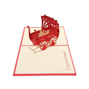 Easting Congratulations Wishes for Baby Cards 3d Pop up Handmade Greeting Cards for Boy or Girl Birth