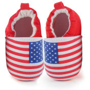 ELee Baby Soft-sole Cotton Flag Crib Shoes Non Slip Slippers for Toddler Pre-walkers