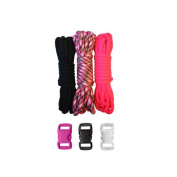 Paracord Planet 250kg Type III Paracord Combo Crafting Kits with FREE Buckles - For Friendship Bracelets and Craft Beginners