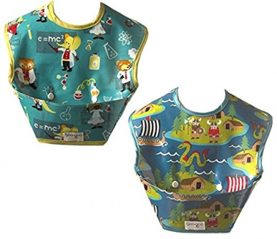 Two Spill-proof Bibs with Extra Large Mess Catching Pocket - Wipes Clean & Stores Flat (Vikings & Lab Animals)