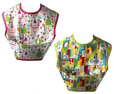 Two Spill-proof Bibs with Extra Large Mess Catching Pocket - Wipes Clean & Stores Flat (Happy Town & Castles)