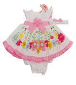 Baby Girls 3 Piece Floral Bow Dress Set Knickers & Bow Headband Age 6-24 M
