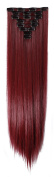 70cm Long Straight 8 Piece Full Head 18Clips Womens Ladies Girls Clip in Hair Extensions Rose Red Mix