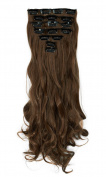 17 inches(43cm) Long Curly Wavy 8 Piece Full Head 18Clips Womens Ladies Girls Clip in Hair Extensions Light Brown