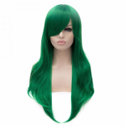 Women Cosplay Green Natural Long Straight Side Swept Fringe Resistant Hair Wigs