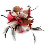 Darwin Feather Fascinator on Band in Wine/Silver/Brown