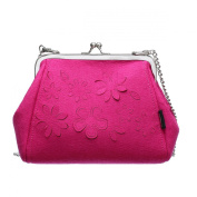 2087 Women Cross Body Handbag Ladies Clutches Flower Carving Design Detachable Metal Shoulder Strap