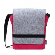 2087 Women Cross Body Handbag Ladies Wool Felt Shoulder Bag for Apple iPad Storing Colour Grey and Fuchsia