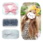 EQLEF® 4PCS of Elastic Lace Bowknot Headbands Elegant Hair Hoops For Baby Kids