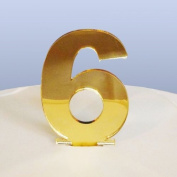 Number 6 Cake Topper Gold Acrylic Mirror