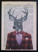 VINTAGE STAG DEER PRINT Original Dictionary Page Wall Art Picture Tartan Hipster