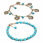Sanwood Boho Rhinestone Flower Beads Turquoise Foot Chain Anklet
