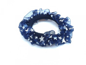 New Lace with Little Satrs Pattern Elastic Hair band Ponytail Holder - Navy