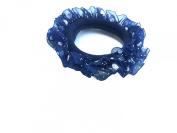 New Lace with Sweet Heart Dot Pattern Elastic Hair band Ponytail Holder - Blue