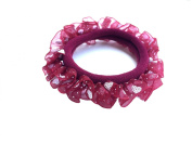 New Lace with Sweet Heart Dot Pattern Elastic Hair band Ponytail Holder - Red