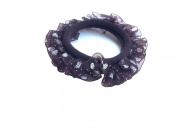 New Lace with Sweet Heart Dot Pattern Elastic Hair band Ponytail Holder - Brown