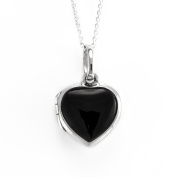Silverly Womens 925 Sterling Silver Onyx Heart Locket 46 cm Chain Necklace