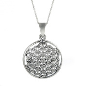 Silverly Women's .925 Sterling Silver Flower Of Life Pendant Chain Necklace, 46cm