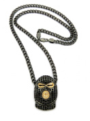 Iced Out Goon Ski Mask Man Pendant with 5mm 61cm Cuban Chain Necklace in Hematite-Tone