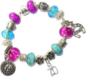 70 70th Birthday Good Luck Lucky Blue Hot Pink Pandora Style Bracelet with Charms Gift Box Womens Jewellery