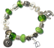 70 70th Birthday Good Luck Lucky Green Silver Pandora Style Bracelet with Charms Gift Box Womens Jewellery